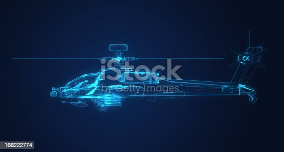 istock 3d Wire Frame sketch of Apache Helicopter 166222774