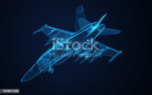 istock 3d Wire Frame sketch of F-18 hornet 164901330