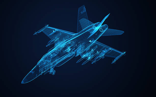 3d Wire Frame sketch of F-18 hornet 3d Wire Frame sketch of F-18 hornet in xray texture fighter plane stock pictures, royalty-free photos & images