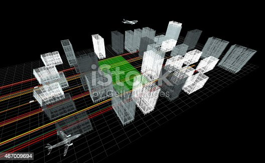 istock 3d Wireframe City (top view) 467009694