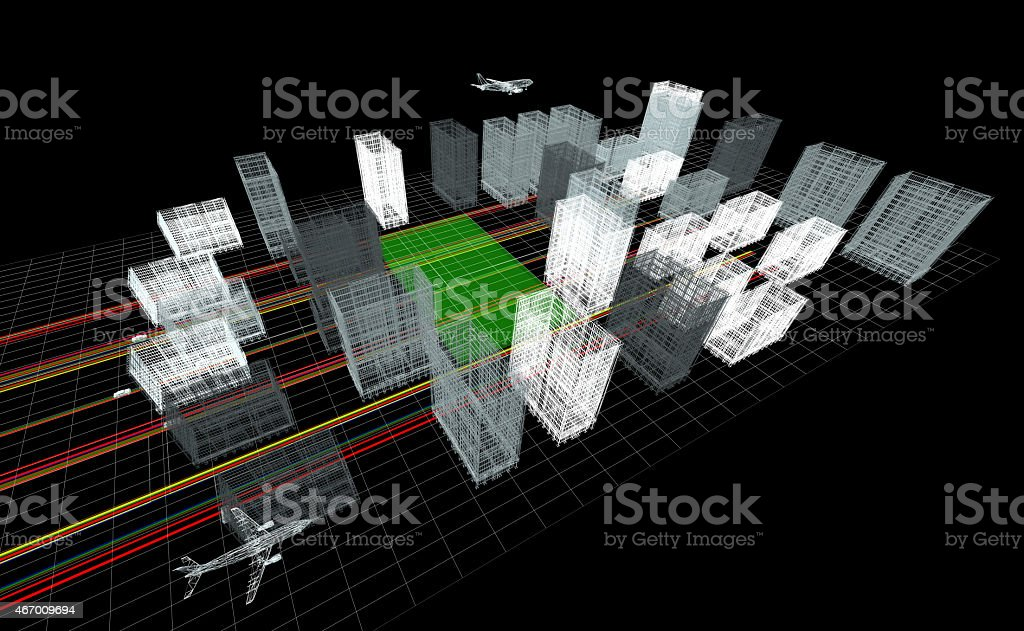 3d Wireframe City (top view) stock photo