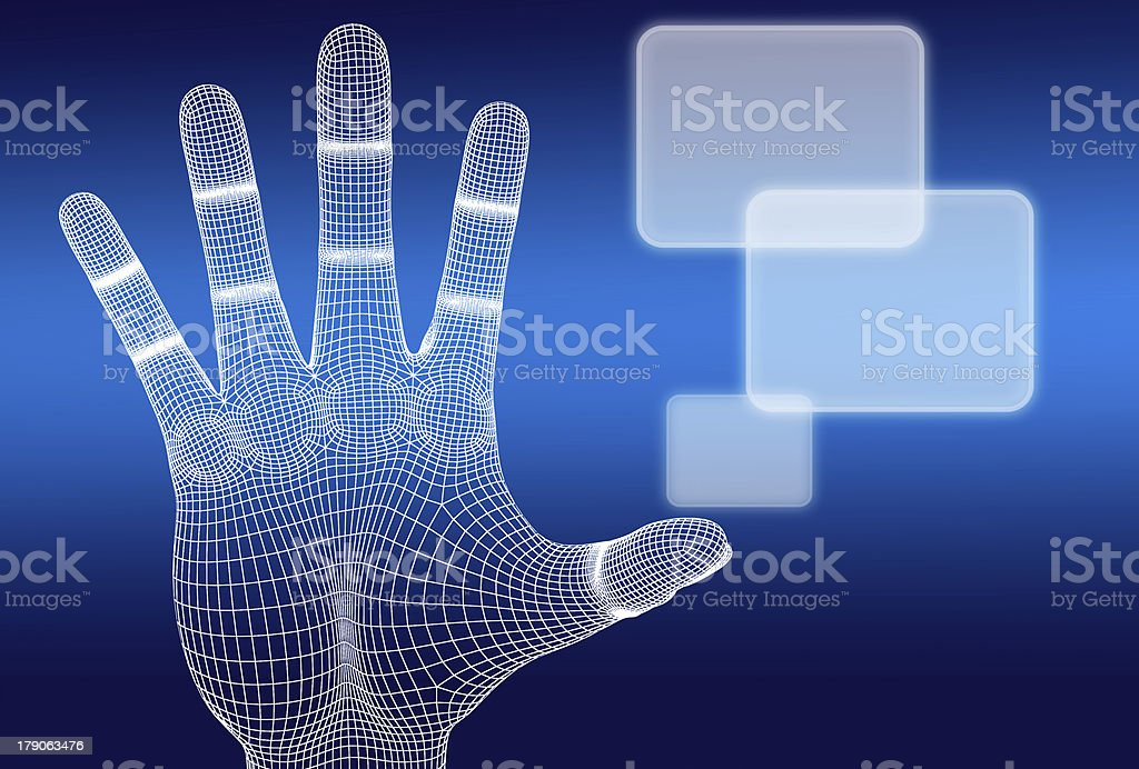 3d wireframe hand push button stock photo