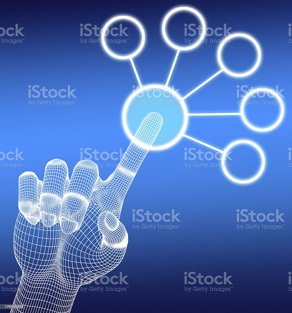 3d wireframe hand push button royalty-free stock photo