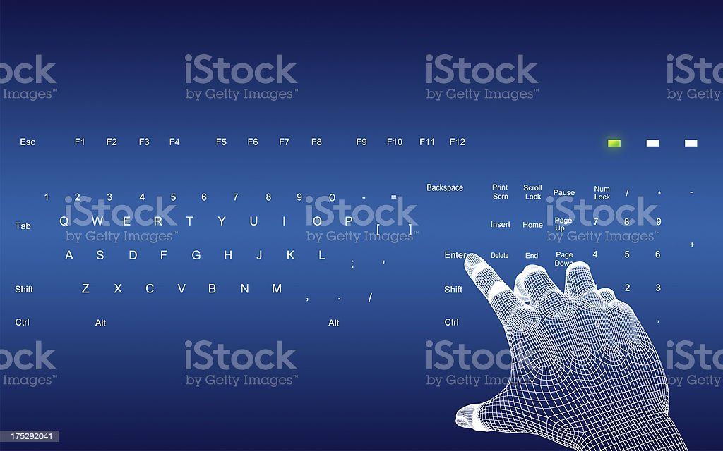 3d wire-frame hands typing on a blue keyboard royalty-free stock photo