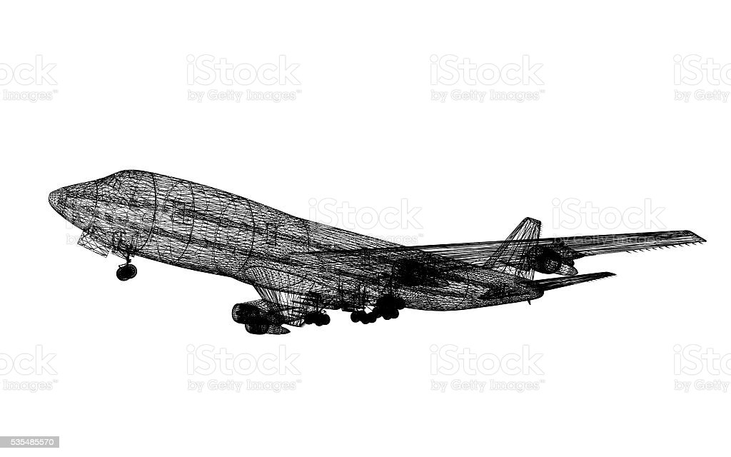 3d wireframe of  passenger airplane isolate on white ,3d rendering stock photo
