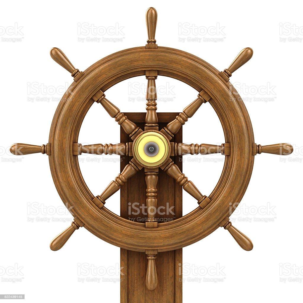 3d Wooden ships wheel stock photo
