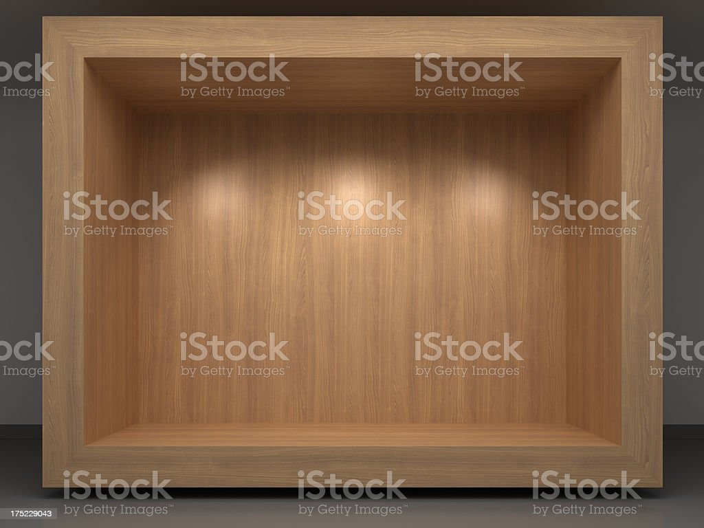 3d wooden vitrine stock photo