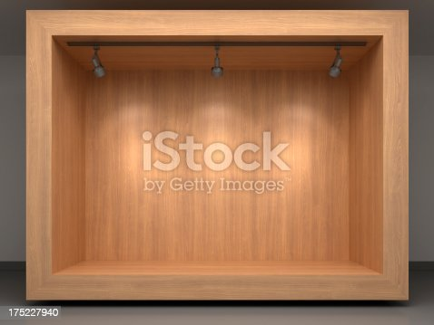istock 3d wooden vitrine with spotlights 175227940
