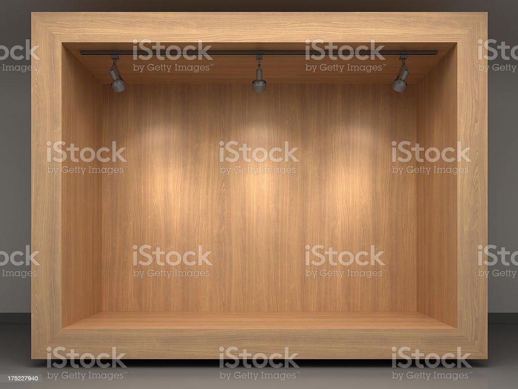 3d wooden vitrine with spotlights stock photo