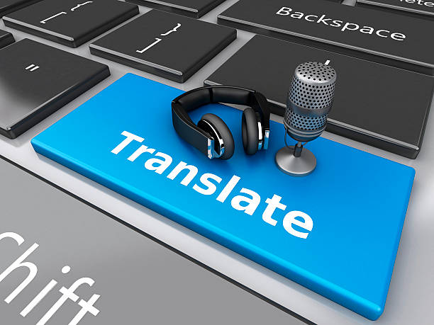 3d Word translate with mic and headphones on computer keyboard. stock photo