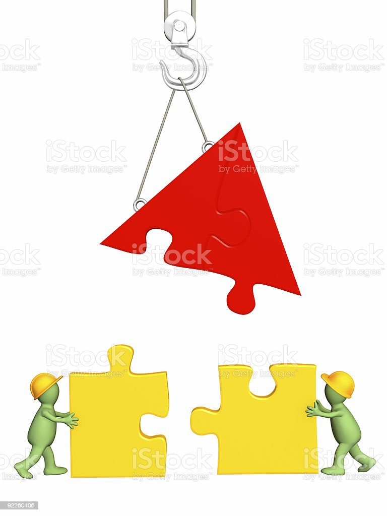 3d working puppets building the house royalty-free stock photo