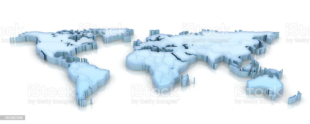 3d world map low angle royalty-free stock photo