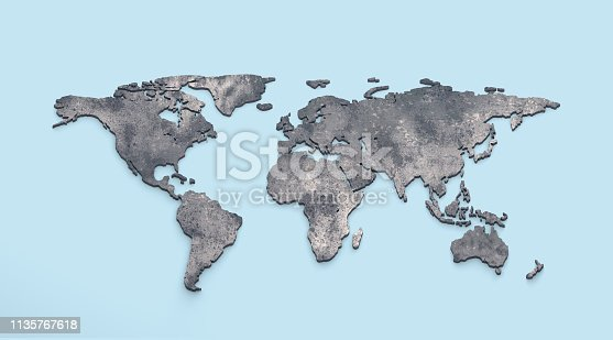 istock 3d world map metal on blue background 1135767618