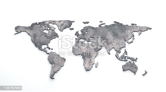 istock 3d world map metal on white background 1135767653
