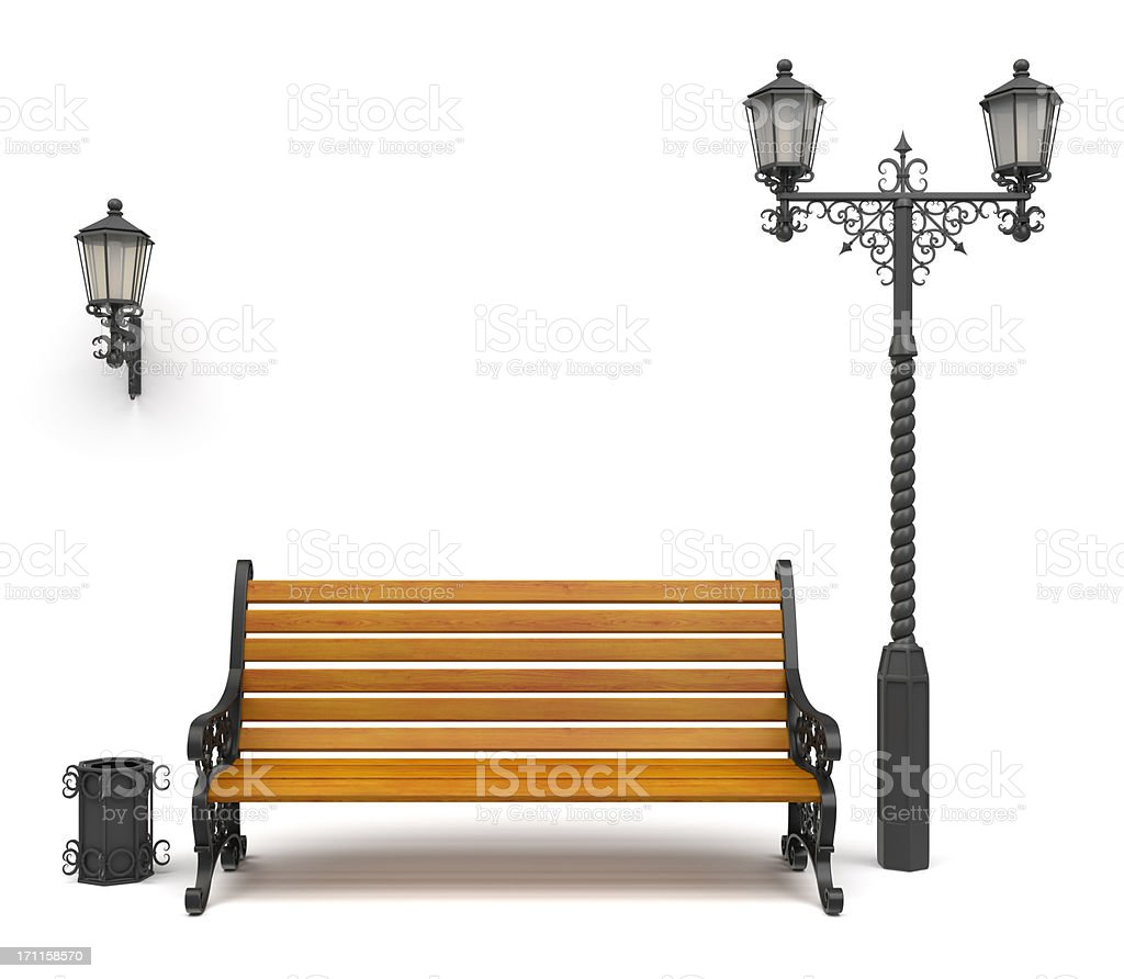 3d wrought iron decoration set Isolated On White stock photo