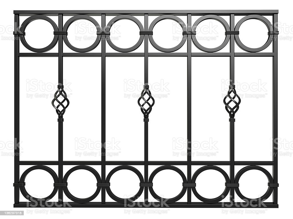 3d Wrought Iron Railing Ornament Isolated On White Stock Photo - Download  Image Now - iStock