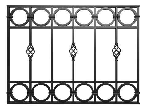 3d wrought iron railing ornament Isolated On White