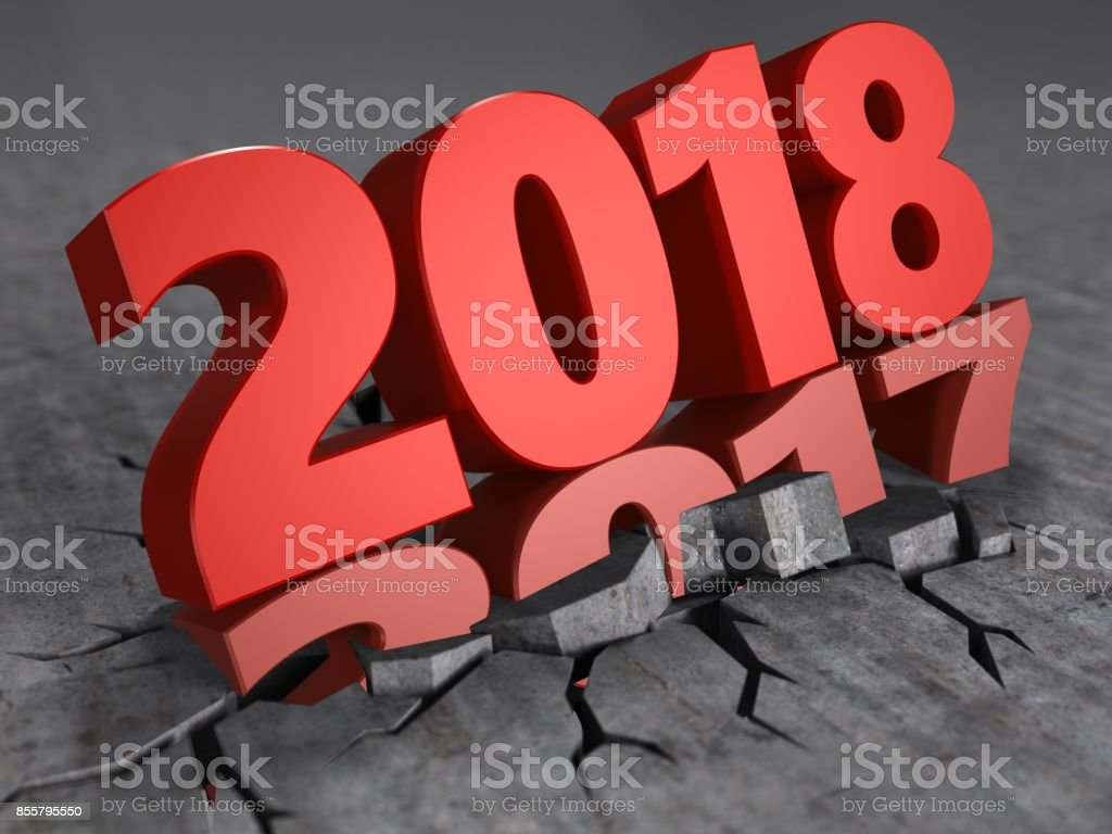 3d year change to 2018 stock photo