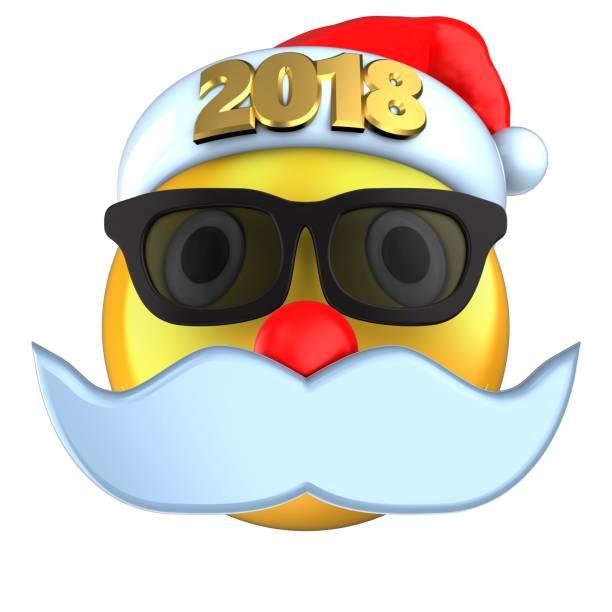 3d sonrisa emoticono amarillo con 2018 sombrero de la navidad - sequence animation fotografías e imágenes de stock