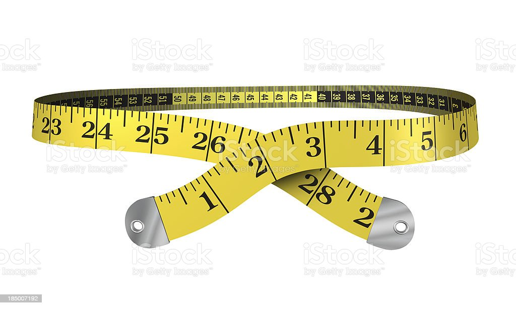 3d yellow measuring tape stock photo