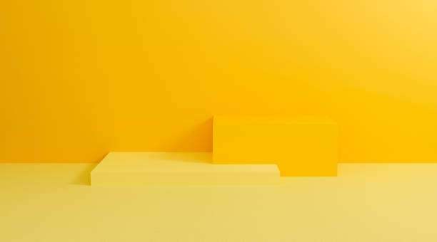 3d yellow podium. Abstract pastel on wall background with geometric shape. Bright yellow cubes for promotion. 3d render design for display product and presentation on website. Creative idea minimal. stock photo