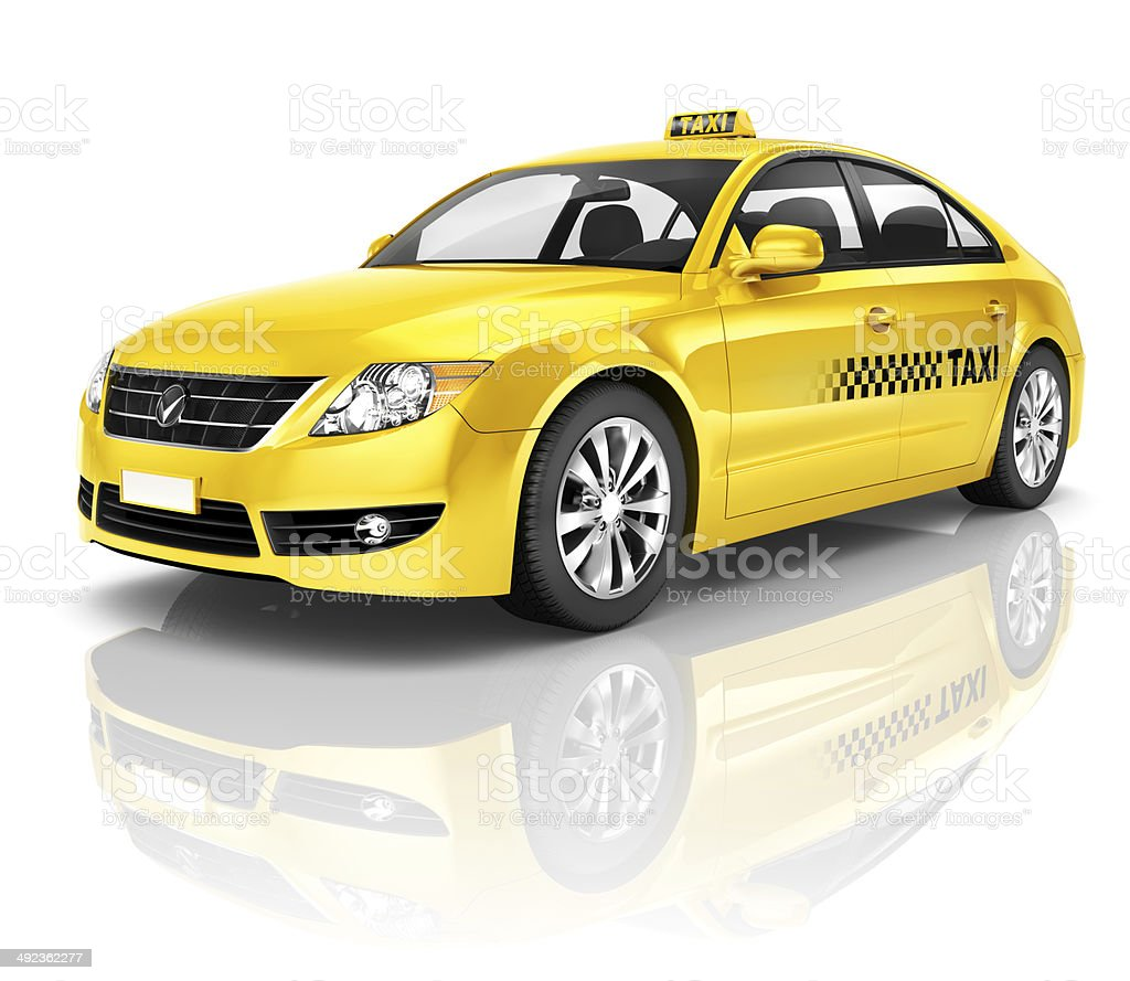 3d Yellow Taxi Stock Image
