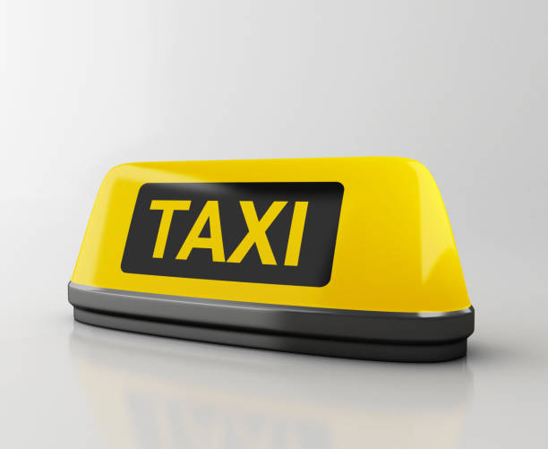 3d Yellow taxi sign. Application for taxi online. stock photo