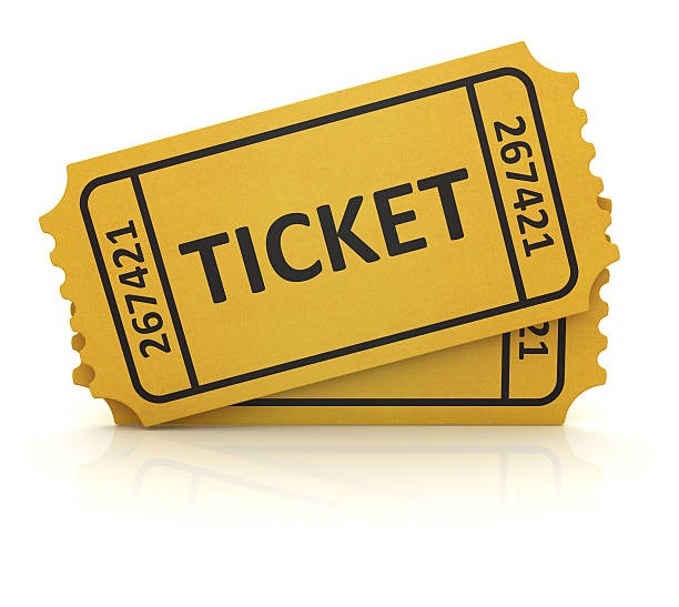 3d yellow ticket - ticket stock photos and pictures