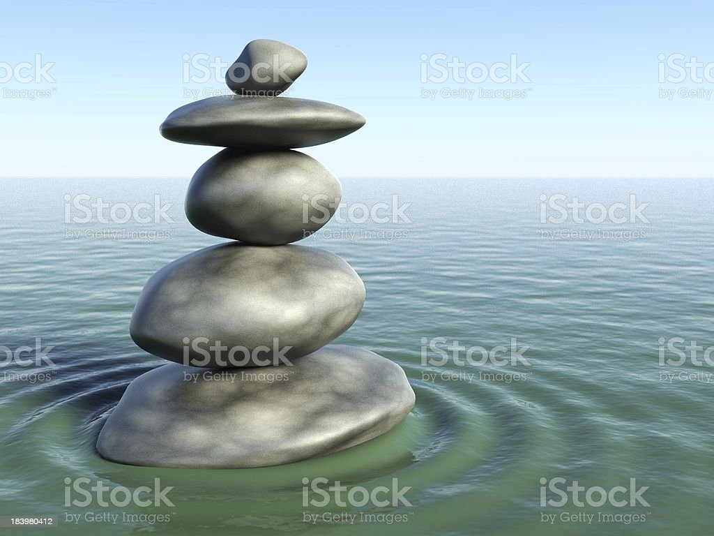 3d Zen stones in a water royalty-free stock photo
