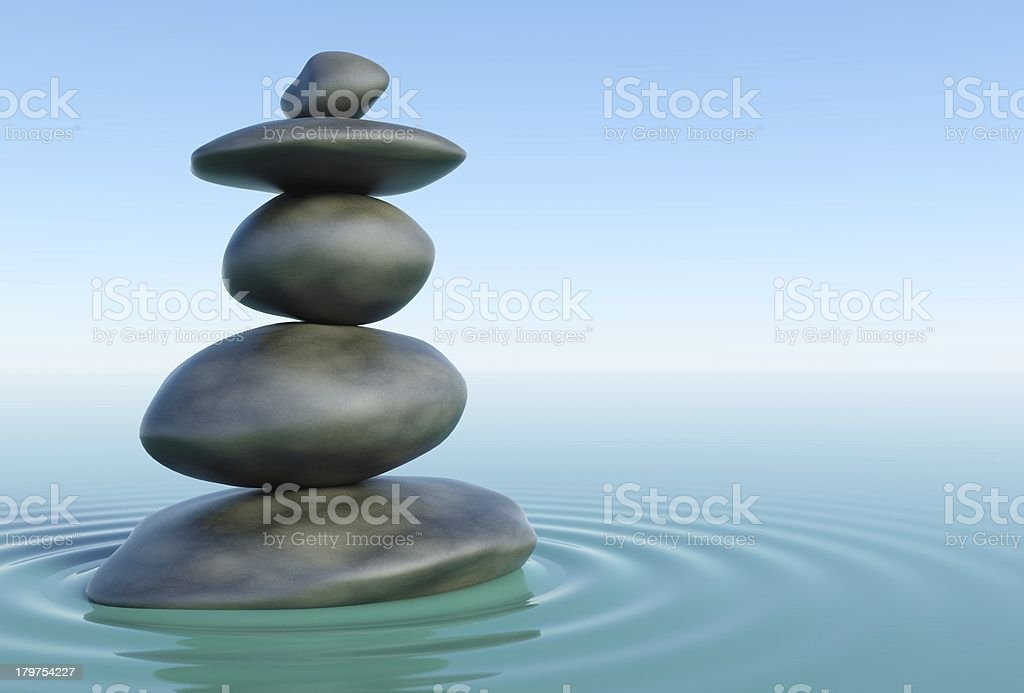 3d Zen stones in water royalty-free stock photo