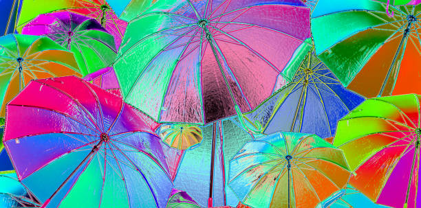 3d,free colored umbrellas fly to the sky