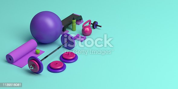 istock 3d-illustration concept of female training gym workout equipment . Fitness ball, weight, dumbbells, water bottle, yoga mat, step platform, apple. 1139518081