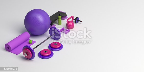 istock 3d-illustration concept of female training sport workout equipment . Fitness ball, weight, dumbbells, water bottle, yoga mat, step platform, apple. 1139518079
