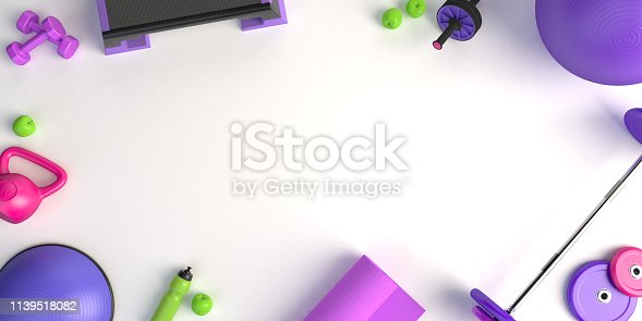 istock 3d-illustration concept of female training sport workout equipment . Fitness ball, weight, dumbbells, water bottle, yoga mat, step platform, apple. 1139518082