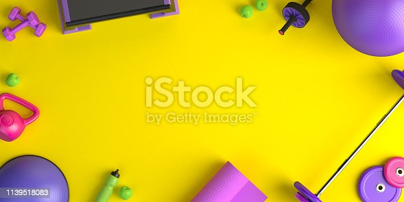 istock 3d-illustration concept of female training sport workout equipment . Fitness ball, weight, dumbbells, water bottle, yoga mat, step platform, apple. 1139518083