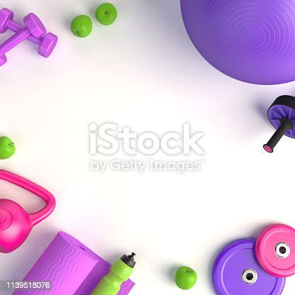 istock 3d-illustration concept of female training workout. Fitness ball, weight, dumbbells, water bottle, jump rope, yoga mat, roller, apples. 3d-render. 1139518076