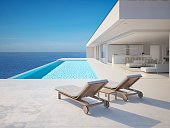 modern luxury summer villa with infinity pool. 3D-Illustration