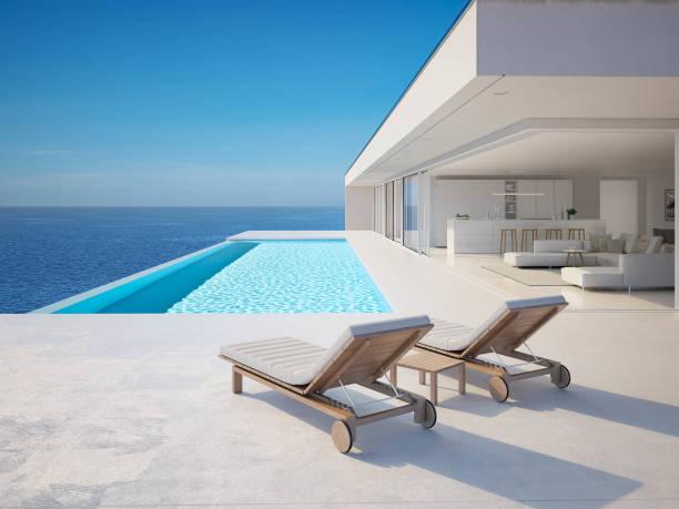 3d-ilustracja. nowoczesna luksusowa letnia willa z basenem bez krawędzi - luksus zdjęcia i obrazy z banku zdjęć