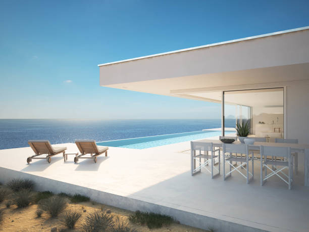 3D-Illustration. Moderne luxuriöse Sommervilla mit Infinity-Pool – Foto
