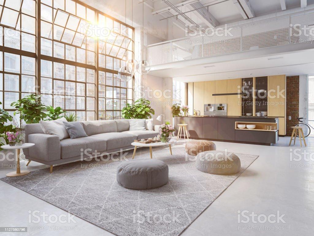 3D-ilustración de un nuevo apartamento moderno de la ciudad. foto de stock libre de derechos