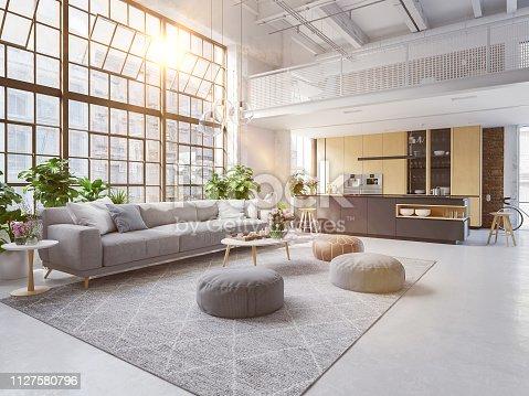 istock 3D-Illustration of a new modern city loft apartment. 1127580796