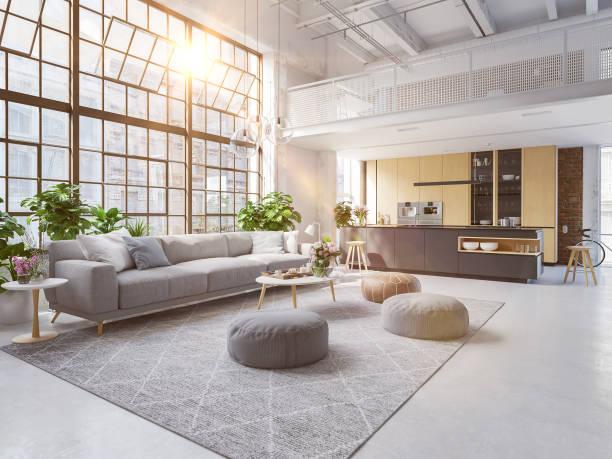 3d-ilustracja nowego nowoczesnego mieszkania na poddaszu miasta. - luksus zdjęcia i obrazy z banku zdjęć