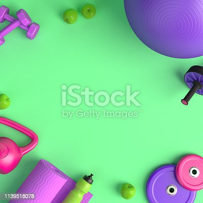 istock 3d-illustration of the concept of female training. Fitness ball, weight, dumbbells, water bottle, jump rope, yoga mat, roller, apples. 3d-render. 1139518078