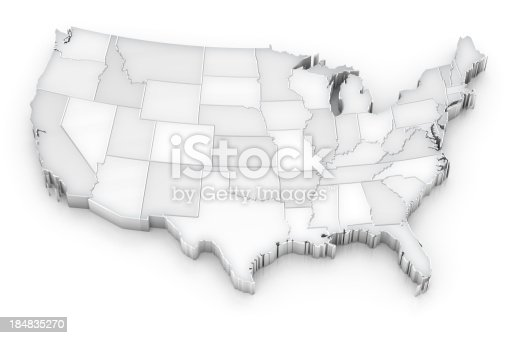 istock 3-dimensional grayscale map of the United States 184835270