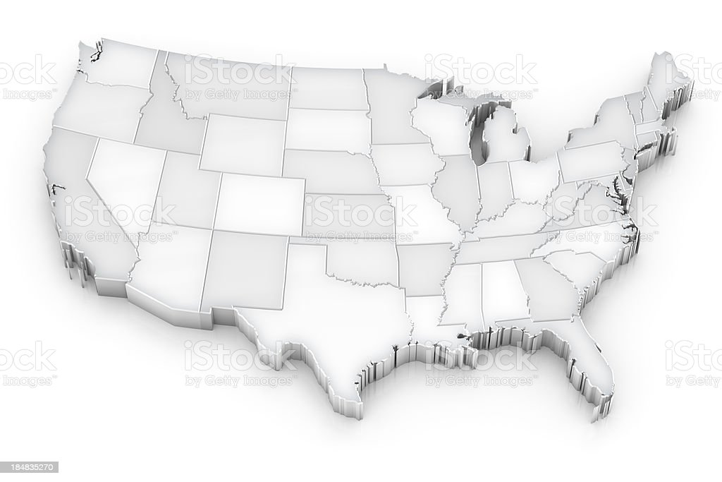 3-dimensional grayscale map of the United States stock photo
