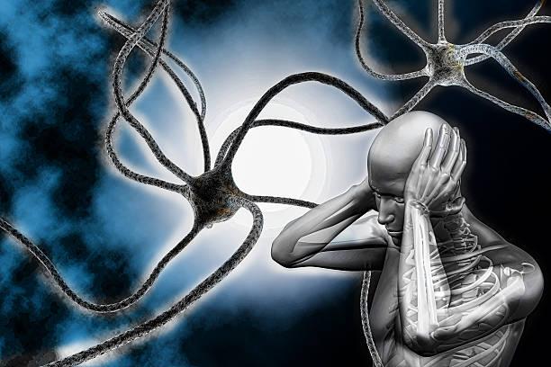 3 dman y neuronas - foto de stock