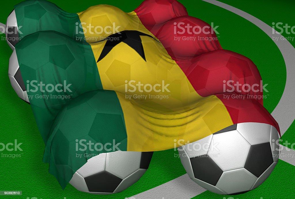 3D-rendering Ghana flag and soccer-balls royalty-free stock photo