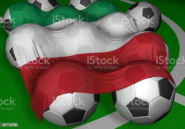 3D-rendering Italy flag and soccer-balls