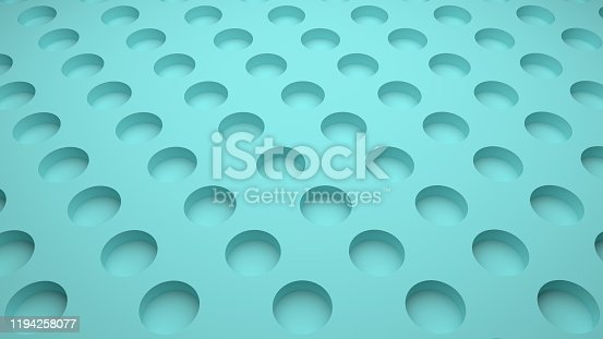 istock 3D-rendering of blue abstract background with circle holes 1194258077