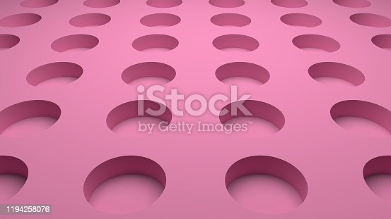 istock 3D-rendering of pink abstract background with circle holes 1194258076